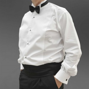 Pique evening dress shirt with wing collar, cotton pique (marcella) evening shirt.
