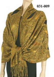 031-009Paisley Evening Pashmina Shawl Wrap - Black